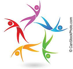 logotipo, ballare coppie