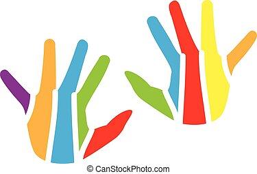 logotipo, bambini, colorito, mani