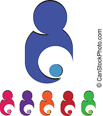 logotipo, bambino, mamma, cura, presa