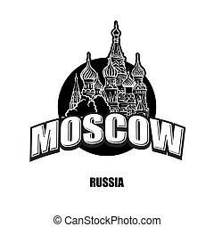 logotipo, bianco, nero, cattedrale, mosca
