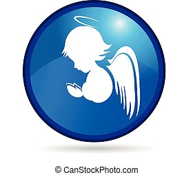 logotipo, bottone, angelo