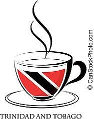logotipo, caffè, fatto, trinidad, tobago, bandiera