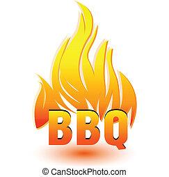 logotipo, caldo, vettore, barbecue
