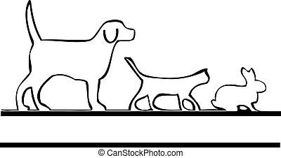 logotipo, camminare, animali domestici