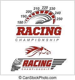 logotipo, campionato, da corsa