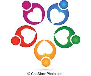 logotipo, carità, lavoro squadra, cuori