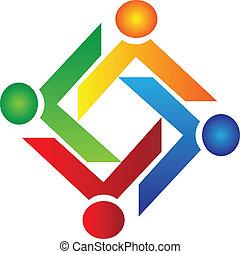 logotipo, carità, vettore, lavoro squadra, persone