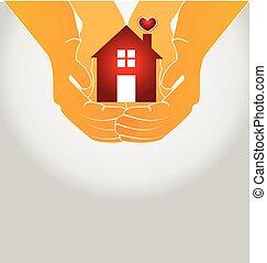 logotipo, casa, coppia, vettore, mani