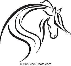 logotipo, cavallo, vettore, silhouette