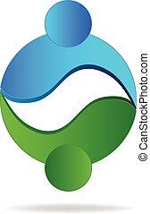 logotipo, cerchio, forma, persone