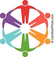 logotipo, cerchio, persone