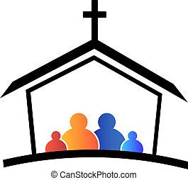 logotipo, chiesa, famiglia, fede