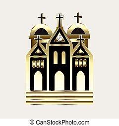 logotipo, chiesa, oro, icona