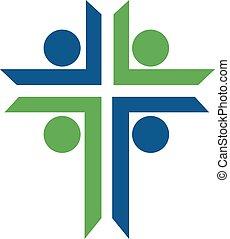 logotipo, chiesa, persone, design.