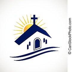 logotipo, chiesa, sole
