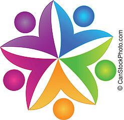 logotipo, collaborazione, lavoro squadra, persone