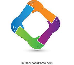 logotipo, collegamento, mani