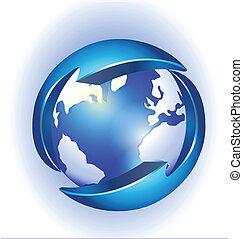 logotipo, collegamento, vettore, mondo