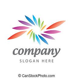 logotipo, colorato, petali