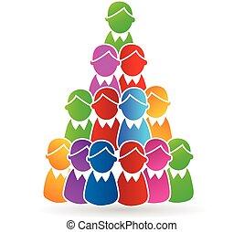logotipo, concetto, piramide, umano, albero