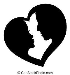 logotipo, coppia, vettore, amore