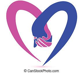 logotipo, coppia, vettore, tenere mani