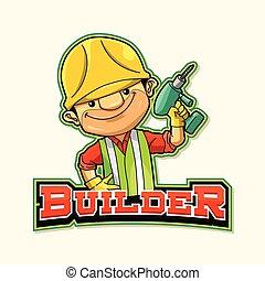 logotipo, costruttore, disegno, illustrazione