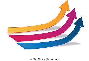 logotipo, crescita, frecce, affari