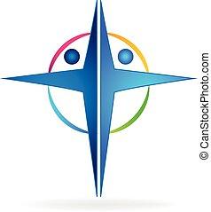 logotipo, croce, persone