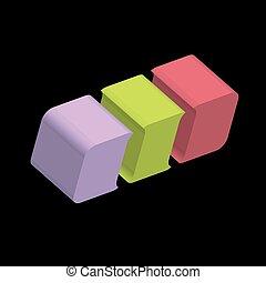 logotipo, cubo, 3d, arrotondato