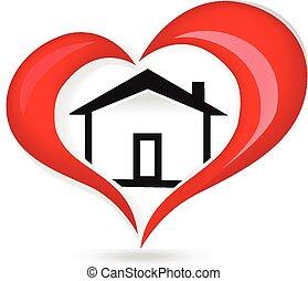 logotipo, cuore, amore, casa