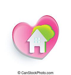logotipo, cuore, casa, albero