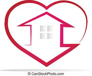 logotipo, cuore, casa, silhouette