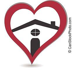 logotipo, cuore, casa