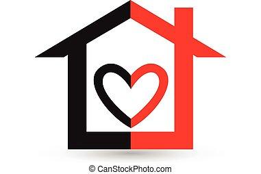 logotipo, cuore, casa, vettore