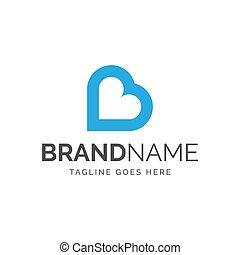 logotipo, cuore, lettera b