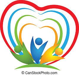 logotipo, cuore, persone, collegamenti