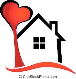 logotipo, cuore, vettore, casa albero