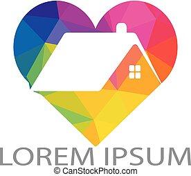logotipo, cuore, vettore, design., casa