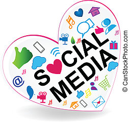 logotipo, cuore, vettore, sociale, media