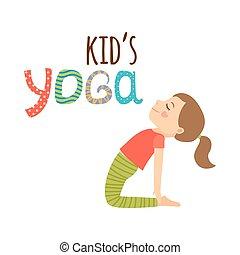 logotipo, disegno, isolato, bambini, yoga