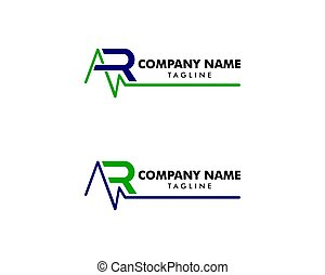 logotipo, disegno, lettera, salute, sagoma, vettore, set, ar, impulso