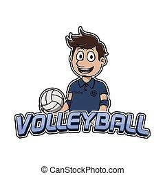 logotipo, disegno, pallavolo, illustrazione