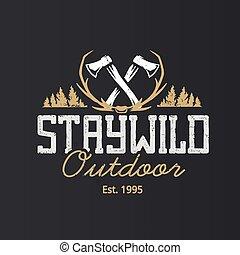 logotipo, disegno, vettore, sagoma, retro, emblemi, esterno