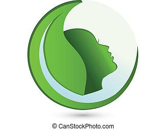 logotipo, donna, foglia, bellezza