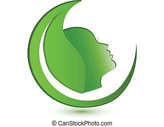 logotipo, donna, foglia, faccia