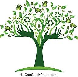 logotipo, ecologico, albero, verde, mani