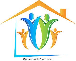logotipo, famiglia, casa, vettore