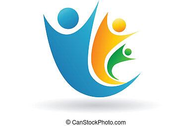 logotipo, famiglia, squadra