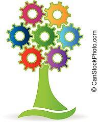 logotipo, fatto, albero, ingranaggi